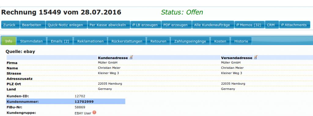 Auftragskasse Scannerkasse: Rechnung Auftrag