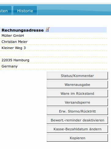 Auftragskasse Scannerkasse: Auftrag Buttons
