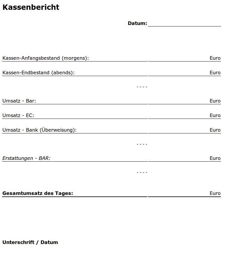 Auftragskasse Scannerkasse: Kassenbericht