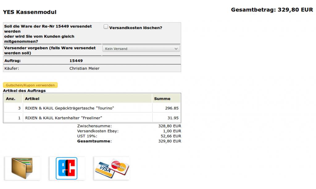 Auftragskasse Scannerkasse: Per Kasse bezahlt