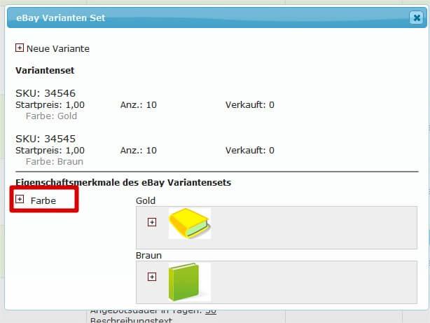 Ebay Variantensets in laufender Auktion erweitern: Merkmal wählen, um Variantenset zu erweitern (YES-System)