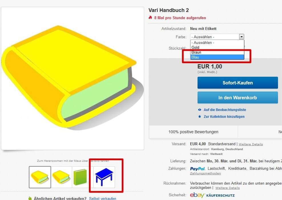 Ebay Variantensets in laufender Auktion erweitern: neue Variante in laufender Auktion (YES-System)