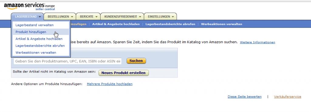 Amazon Artikel pflegen: Produkt hinzufügen Amazon (YES-System)