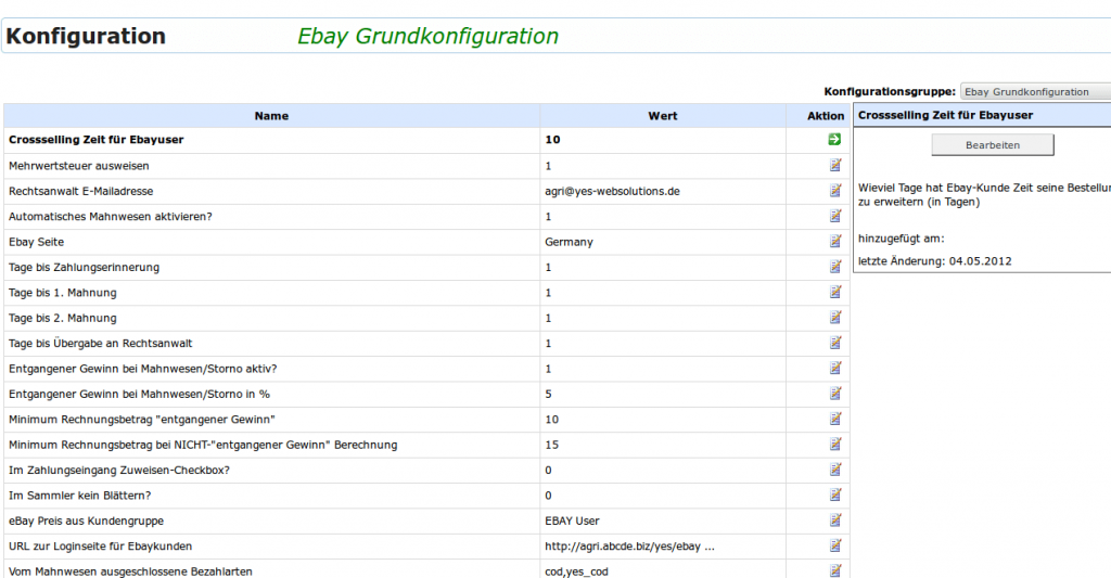 Mahnwesen: ebay Grundkonfiguration (YES-System)