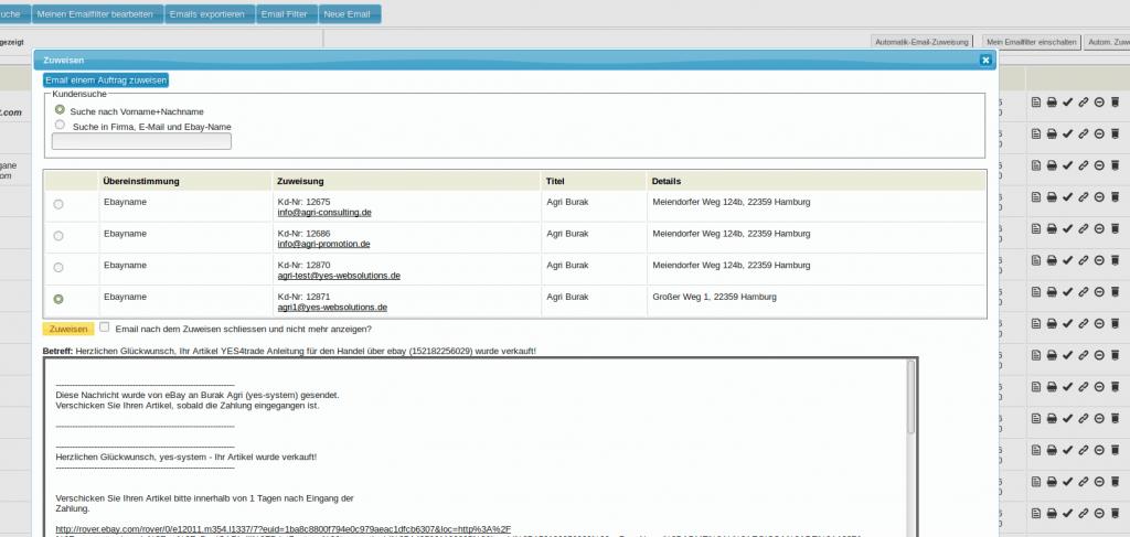 Mailmaster: manuelle Mailzuweisung (YES-System)