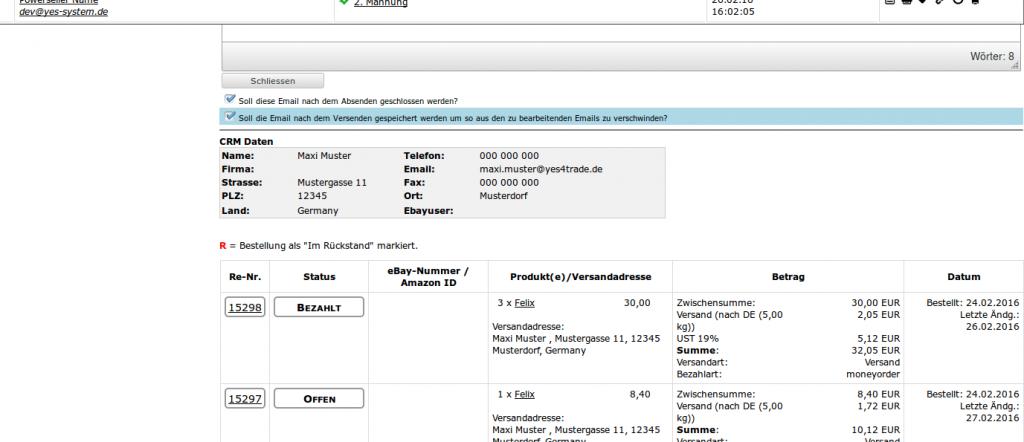 Mailmaster: Antwortfenster (YES-System)