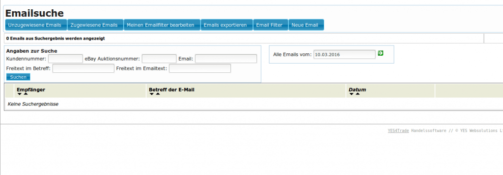 Mailmaster: Emailsuche (YES-System)