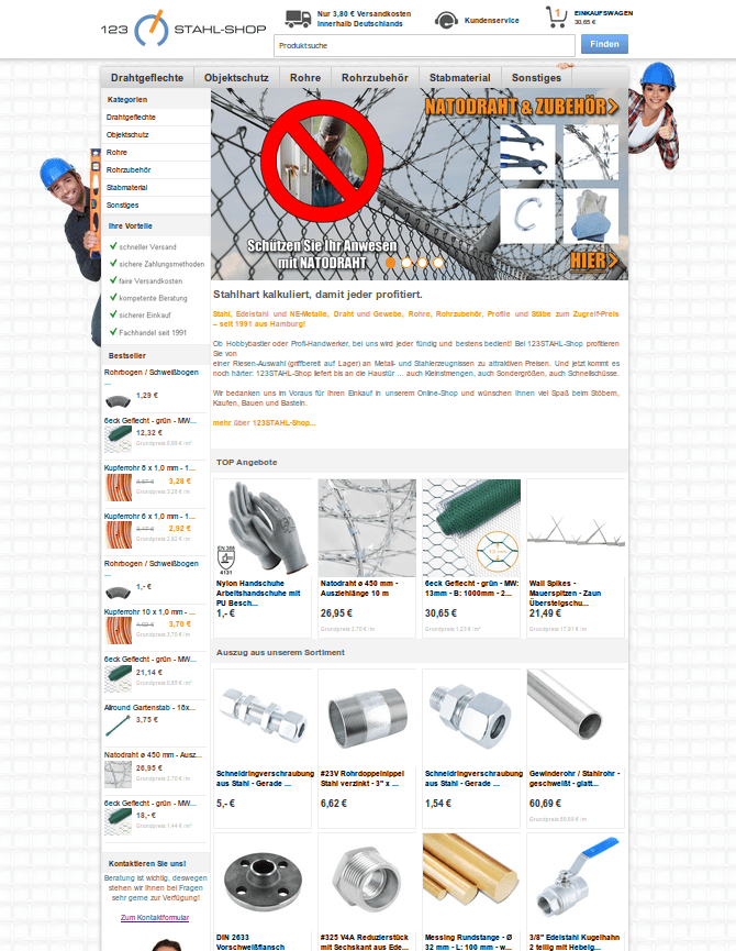 Startseite des Webshops: Beispielseite 123stahl-shop (YES-System)