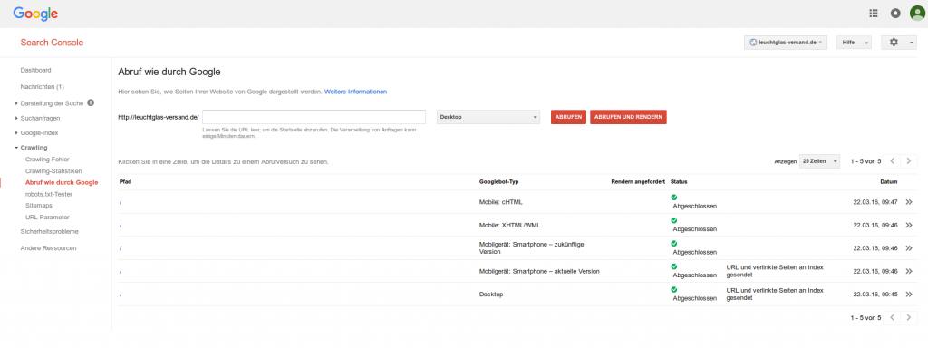Google: Webmastertools