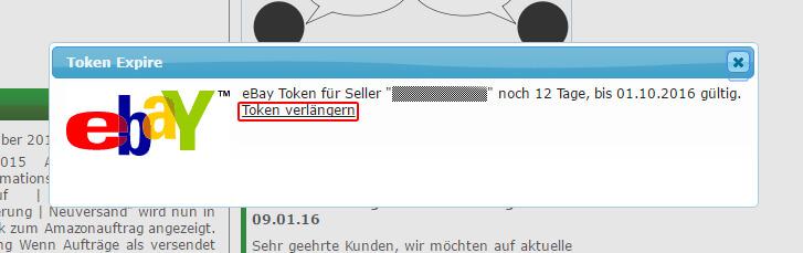 Ebay Token verlängern: Token1