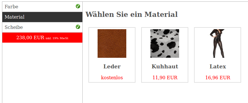 Master-Slave-Produkte: Multivarianten Praxisbeispiel 3 Variantenauswahl individuell Möbelhandel (YES-System)