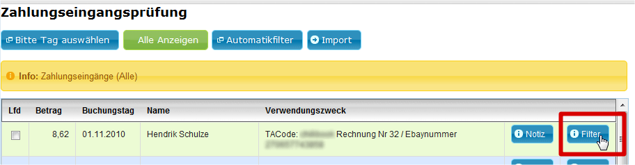 Zahlungseingang PayPal: Zahlungseingangsprüfung 2 (YES-System)