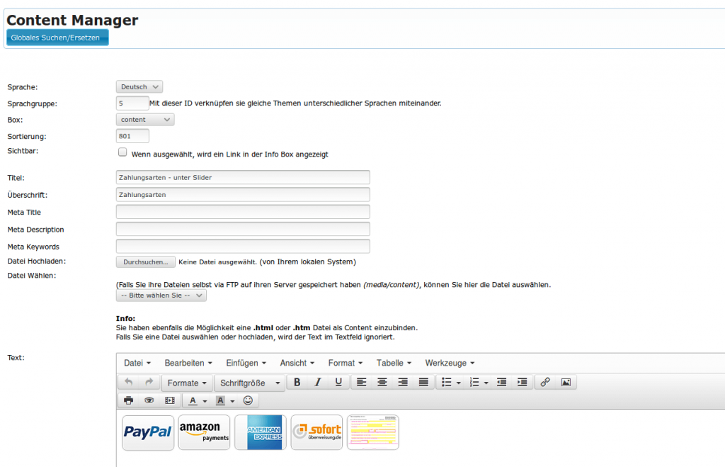 Startseite des Webshops: Contentbox Payment (YES-System)
