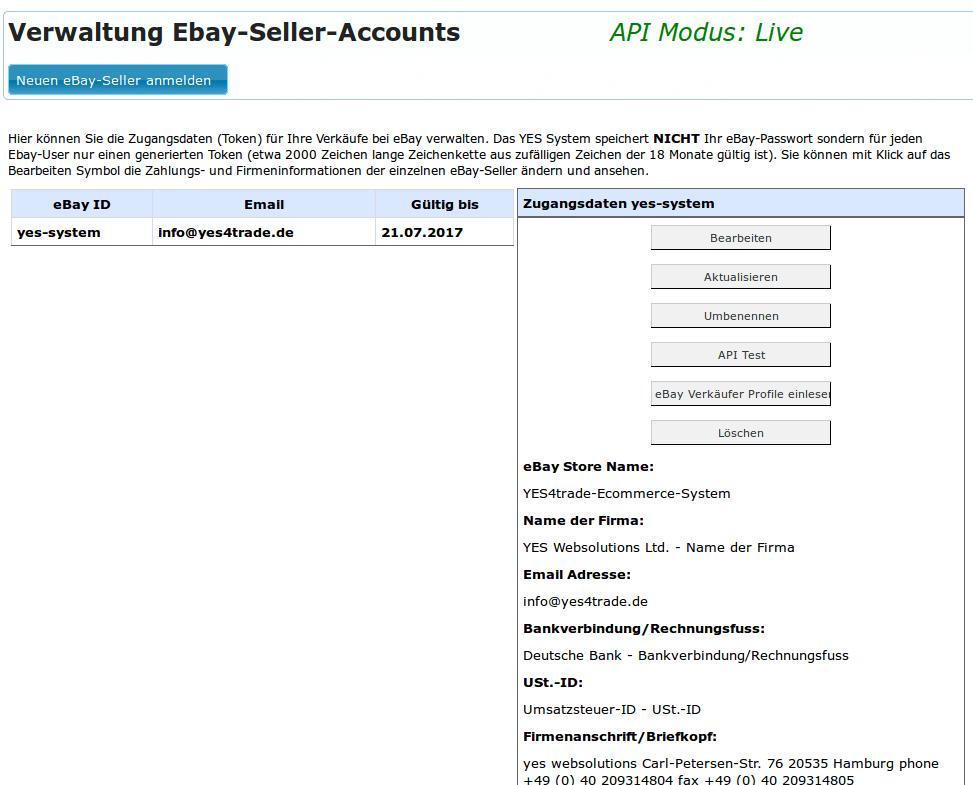 Ebay User Seller im System registrieren: Ebay-Account Verwaltung in YES API