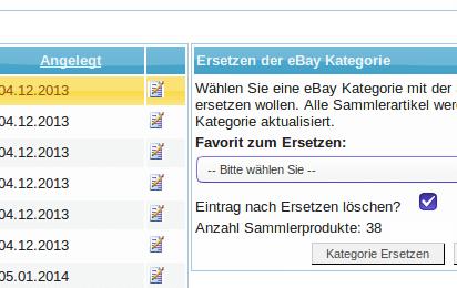 Ebay Kategorien: Ersetzen der Ebay Kategorie