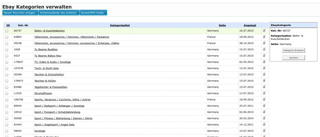 Ebay Kategorien: Ebay Favoriten Verwaltung