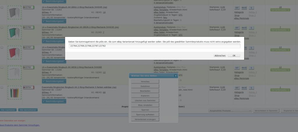 Ebay Varianten Set: ebay Variantenset pid eingeben (YES-System)