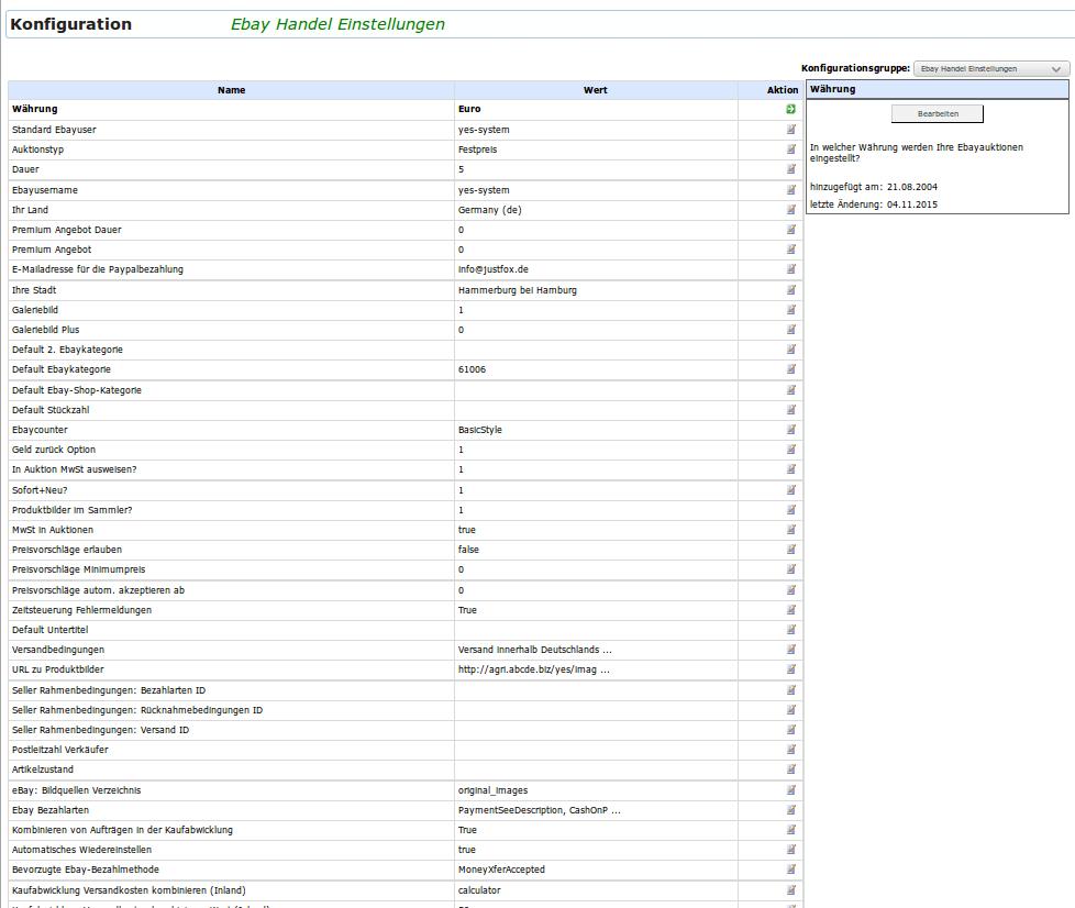 Ebay Handel Einstellungen: Konfiguration (YES-System)