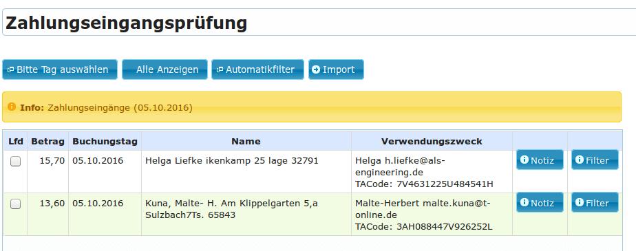 Zahlungseingangsprüfung ZEP mit manuellem Filter, manueller Zuweisung (YES-System)