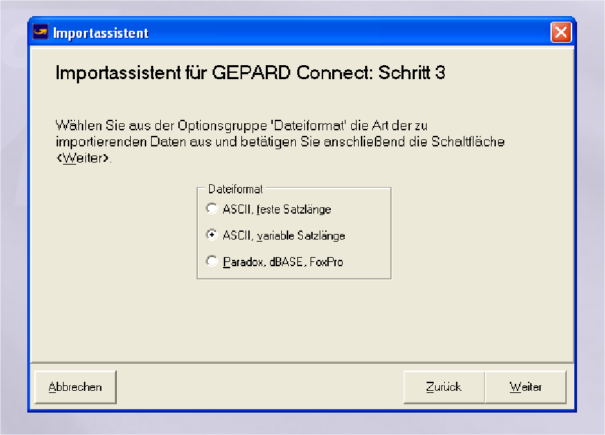 GLS Gepard Connect: ASCII, variable Satzlänge (YES-System)