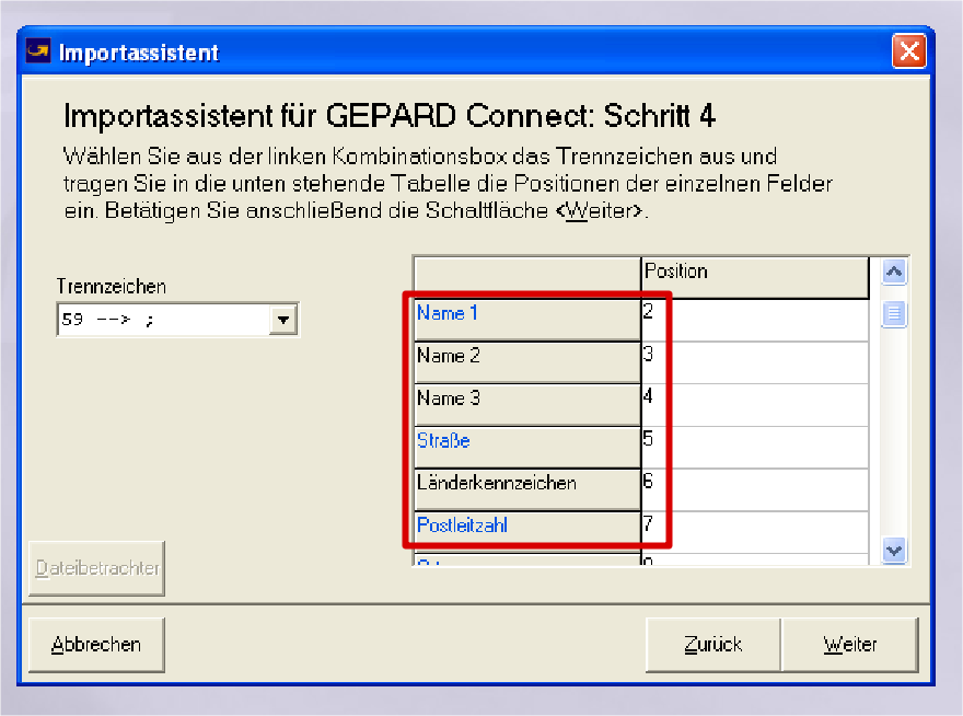 GLS Gepard Connect: Name 1 = 2, Name 2 = 3, Name 3 = 4 (YES-System)