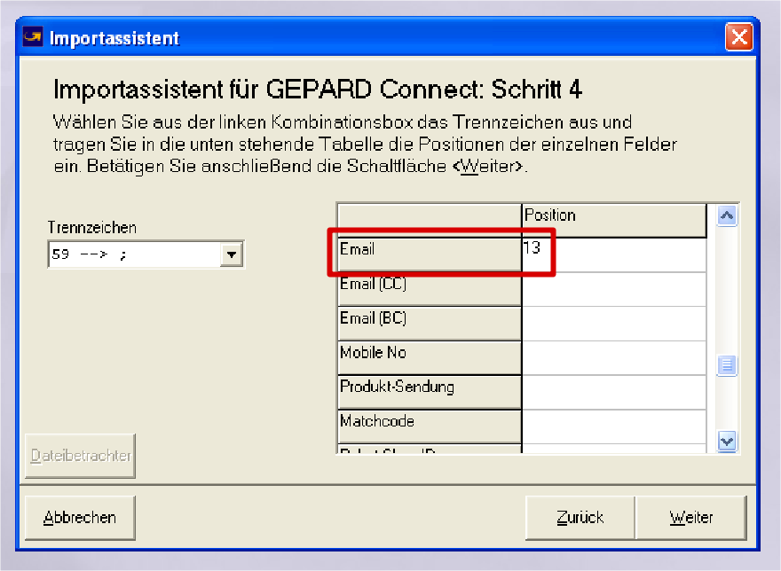 GLS Gepard Connect: Email = 13 (YES-System)