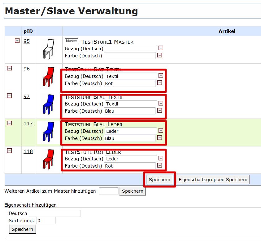 Master-Slave-Produkte: Master/Slave Verwaltung, Multivarianten 2 Eigenschaftssets mit Texten (YES-System)