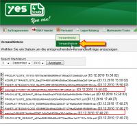 DHL-Easylog: Versandhistorie Liste (YES-System)