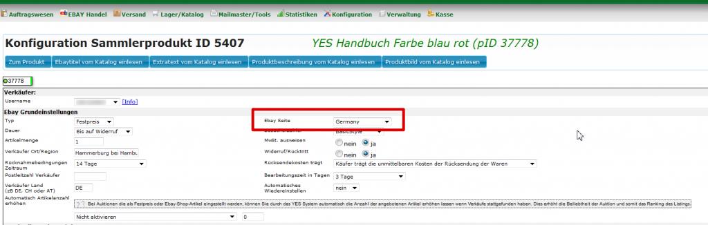 Ebayangebote anderen Ländern anbieten: Konfiguration Sammlerprodukt