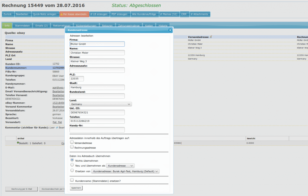Auftragskasse Scannerkasse: Rechnung Auftrag Adresseneingabe