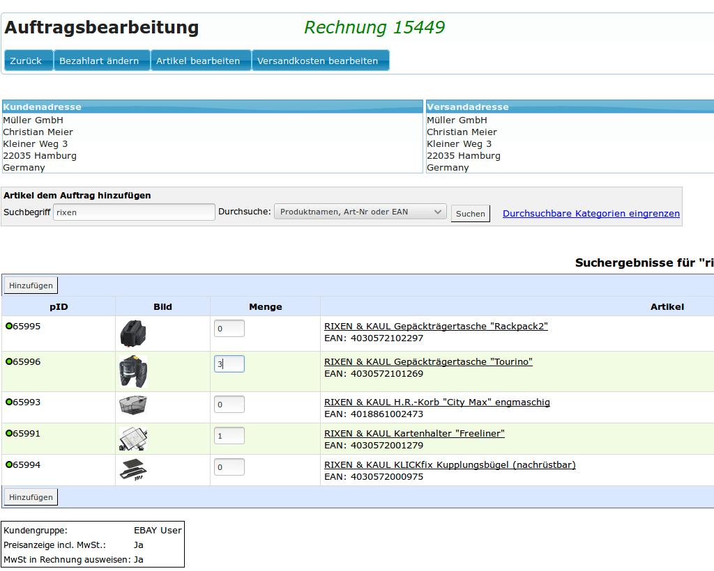 Auftragskasse Scannerkasse: Auftragsbearbeitung, Auftrag Artikel