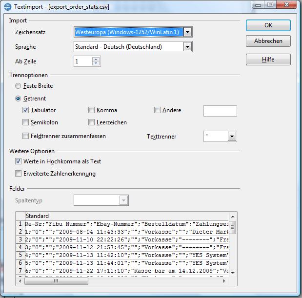 CSV-Dateien mit OpenOffice Excel bearbeiten: Textimport 1