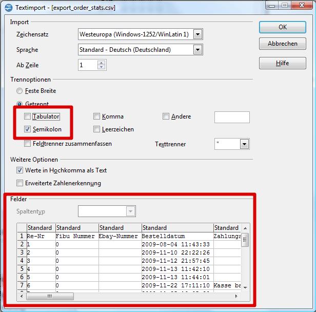 CSV-Dateien mit OpenOffice Excel bearbeiten: Textimport 2