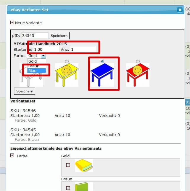 Ebay Variantensets in laufender Auktion erweitern: konkrete Daten eingeben (YES-System)