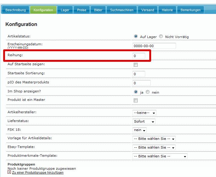 Kategoriefunktionen in YES-System: Reihenfolge in Artikelkonfiguration eingeben (YES-System)