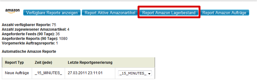 Amazon Artikel pflegen: Amazon Report Lagerbestand (YES-System)