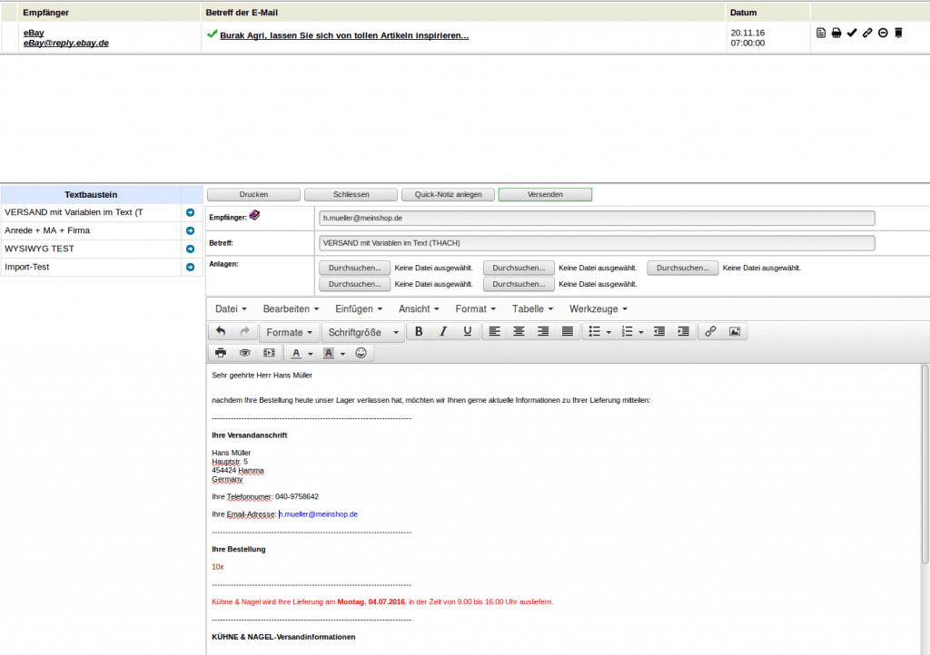 Textbausteine: Mailfenster (YES-System)