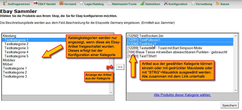 Arbeiten mit den ebay Sammlern: Sammlerartikel zu Kategorie hinzufügen (YES-System)