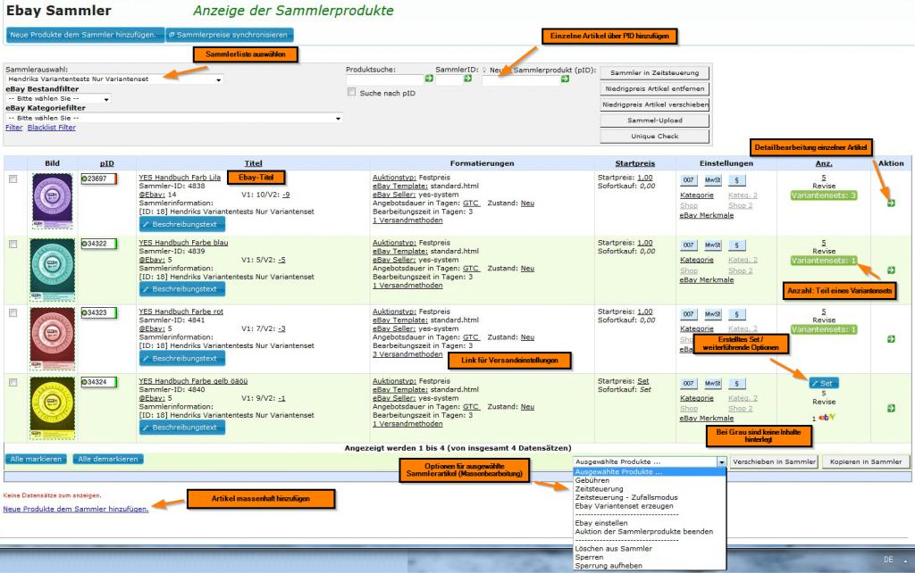 Arbeiten mit den ebay Sammlern: Anzeige der Sammlerprodukte/Sammlerliste (YES-System)