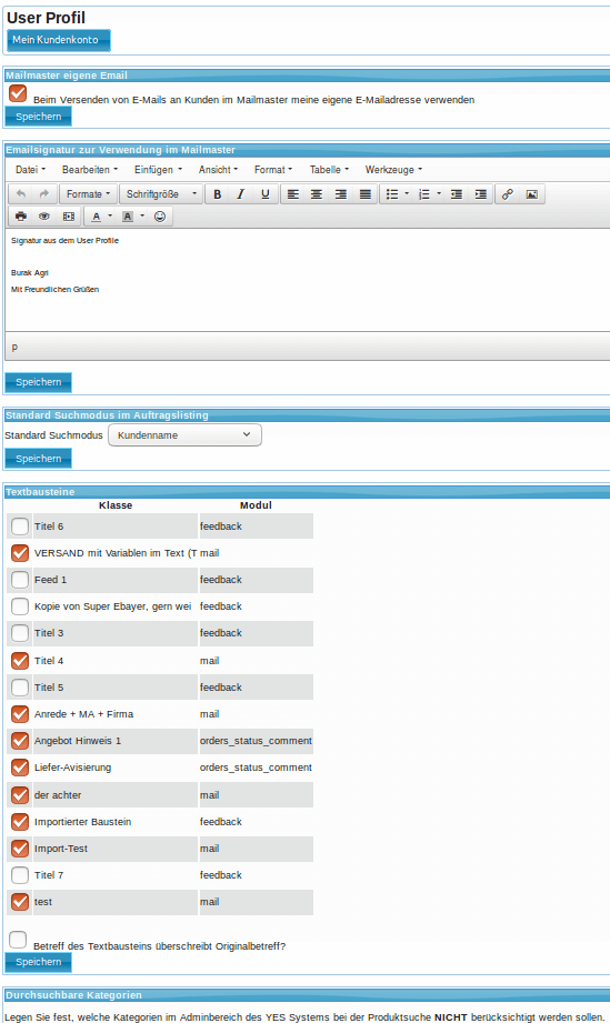 Textbausteine: Nutzerprofil (YES-System)