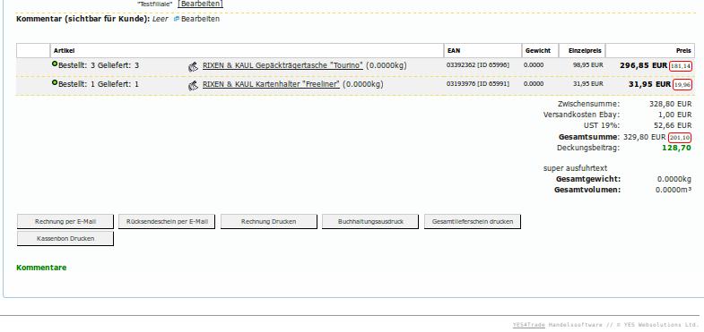 Kundendienst: Auftragsdetails im Überblick, unterer Teil mit Zahlungseinzelheiten (YES-System)