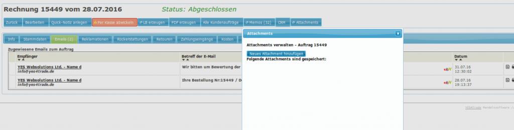 Kundendienst: Anhang oder externe Datei zu Rechnung anfügen (YES-System)
