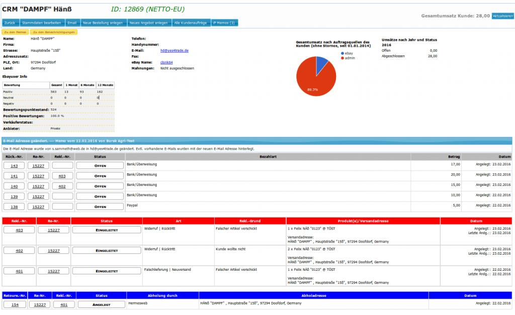 Kundenkonto CRM: Kundenübersicht (YES-System)