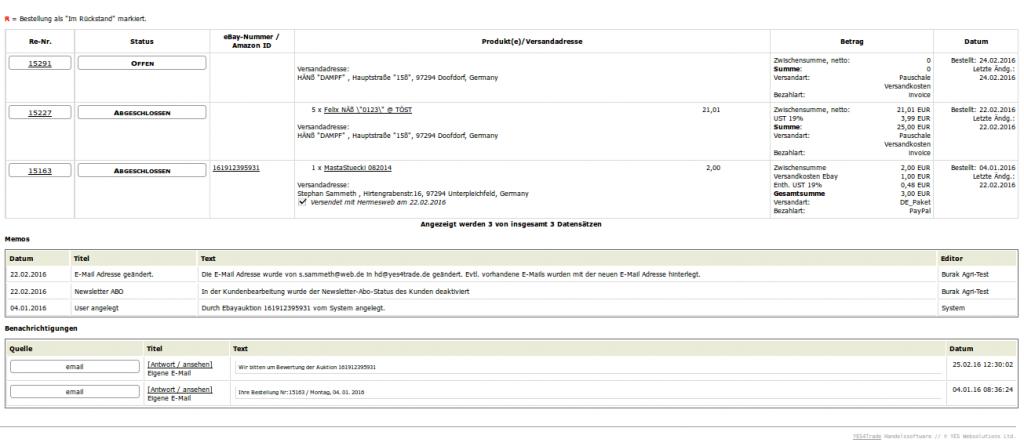 Kundenkonto CRM: Kundenübersicht unten (YES-System)