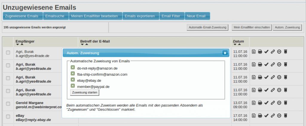 Mailmaster: Unzugewiesene Emails - dynamischer Mailfilter (YES-System)