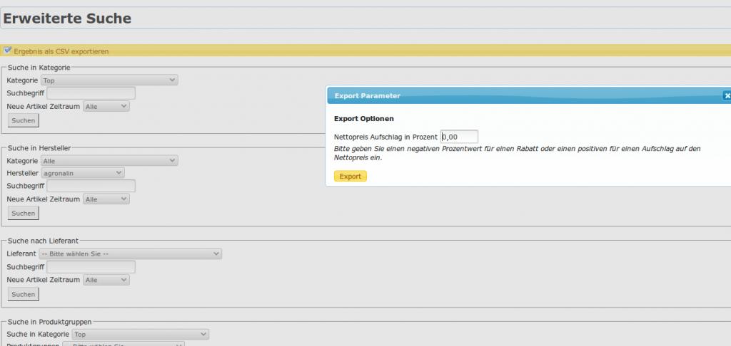 Marken-Herstellerverwaltung: erweiterte Suche, Export Optionen (YES-System)