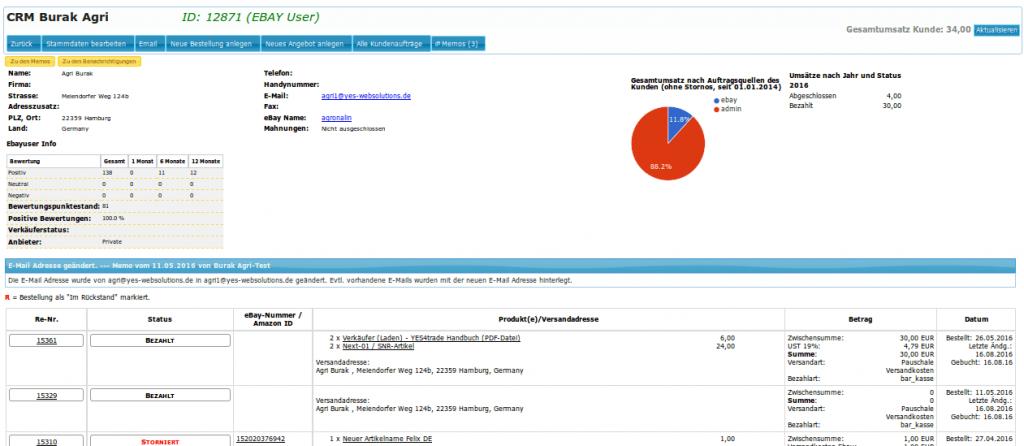 Kundendienst: CRM Kundenmanagement Übersicht ebay (YES-System)