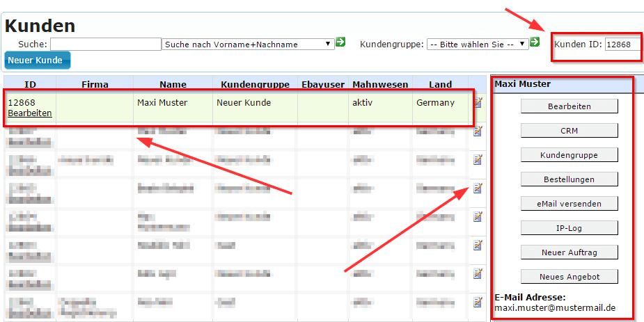 Kundenerfassung: Kundenliste nach Anlage neuer Kunde (YES-System)