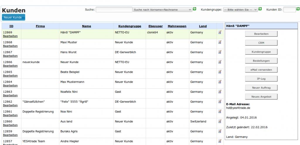 Manuelle Auftragsabwicklung: Kundenübersicht