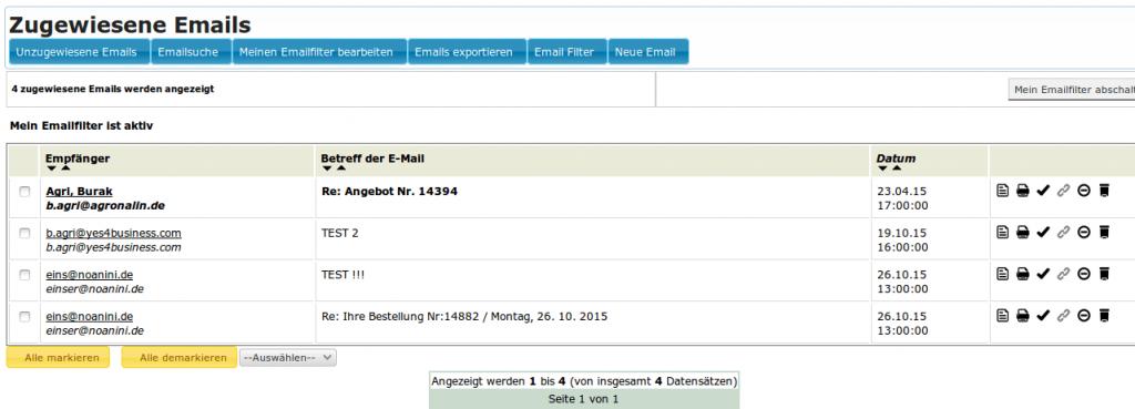 Mailmaster: Zugewiesene Emails (YES-System)